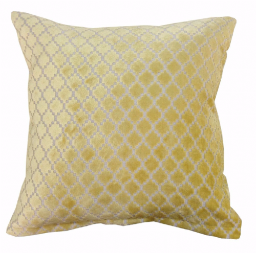 STYLISH LUXURY VELVET CHENILLE TEXTURED FILLED CUSHION YELLOW COLOUR